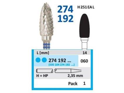 Tvrdokovová fréza - vajíčko, 274192, průměr 6mm