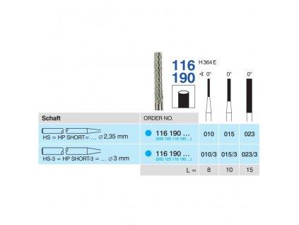 Tvrdokovová fréza - cylindr, 116190, průměr 1mm
