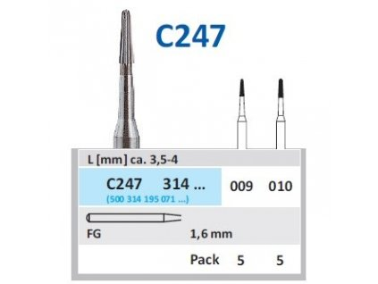 HORICO Tvrdokovová finírka - kónus zakulacený, C247314, průměr 0,9mm