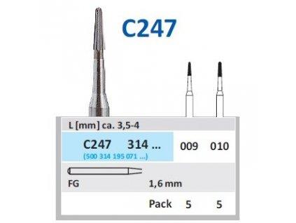 HORICO Tvrdokovová finírka - kónus zakulacený, C247314, průměr 1mm