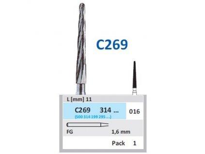 HORICO tvrdokovový vrtáček - kónus zakulacený, C269314 (FG), ø 1,6mm
