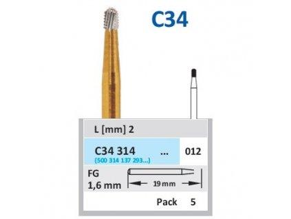HORICO tvrdokovový vrtáček - cylindr zakulacený, C34314, průměr 1,2mm