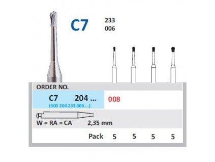 HORICO tvrdokovový vrtáček - hruška, C7204 (W), ø 0,8mm