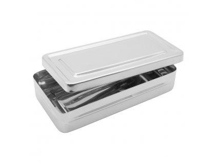 Krabička sterilizační; nerez; 200×100×40 mm