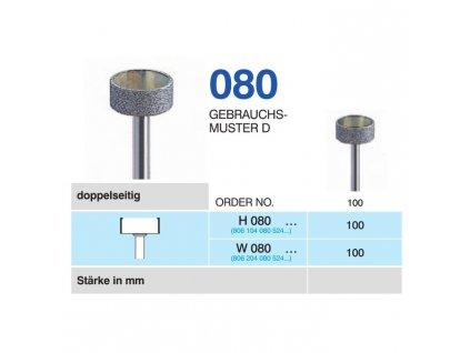 HORICO diamantový brousek - kolečko, H080, průměr 10mm, normal - DOPRODEJ POSLEDNÍCH KUSŮ