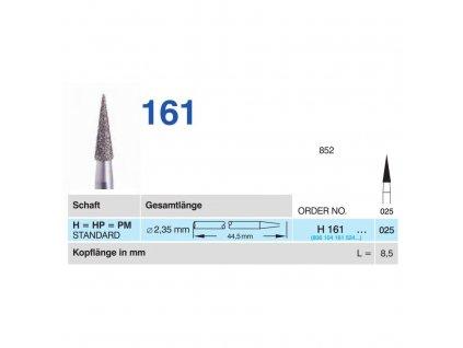 HORICO diamantový brousek - kónus, H161, 2,5mm, normal - DOPRODEJ POSLEDNÍCH KUSŮ