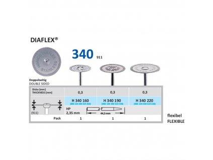 Diamantový disk DIAFLEX - oboustranně sypaný, H340, 1,9cm, normal