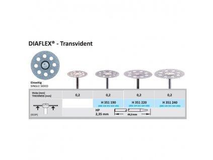Diamantový disk DIAFLEX Transvident - sypaný ze spodu, 2,2cm, normal