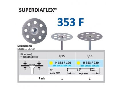 Diamantový disk SUPERDIAFLEX - oboustranně sypaný, H353, 2,2cm, extra jemná