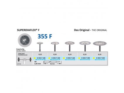 Diamantový disk SUPERDIAFLEX F - oboustranně sypaný, 1,6cm, extra jemná