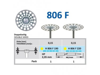 Diamantový disk - oboustranně sypaný, H806, průměr 2,2cm, extra jemná