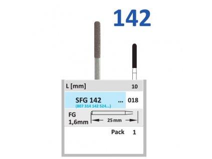 Sintrovaný diamant - cylindr zakulacený, SFG142, průměr 1,8mm, normal