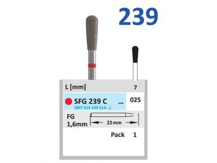 Sintrovaný diamant - hruška, SFG239, průměr 2,5mm, jemná