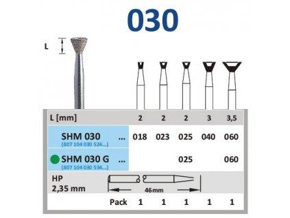 Sintrovaný diamant - obrácený kónus, SHM030, průměr 1,8mm, normal