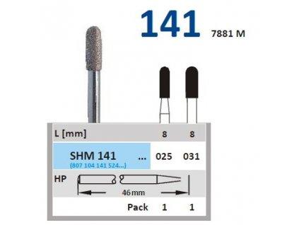 Sintrovaný diamant - cylindr zakulacený, SHM141, průměr 2,5mm, normal