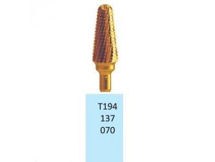 Tvrdokovová fréza s titanovou vrstvou - kónus zakulacený, T194137, 7mm