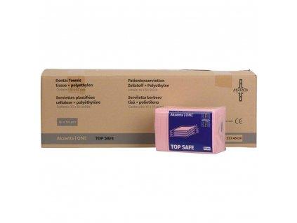 Akzenta Ochranné roušky (bryndáky) pro pacienty, extra savé, růžové