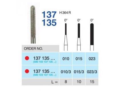 Tvrdokovová fréza - cylindr zakulacený, 137135, průměr 1,5mm