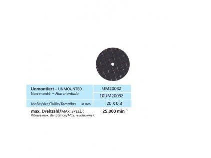 Disk na zirkon, velikost 20 x 0,3 mm