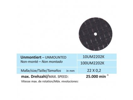 Disk na keramiku, velikost 22 x 0,2 mm