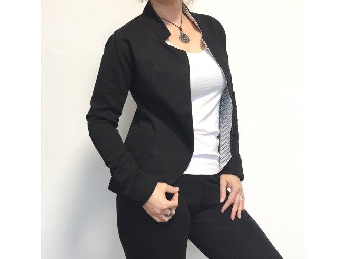 Sako z teplákoviny s puntíkem černý na bílé