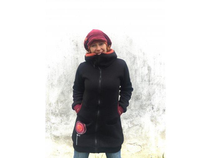 Zimní kabát ze svetroviny - podšívkovaný fleecem