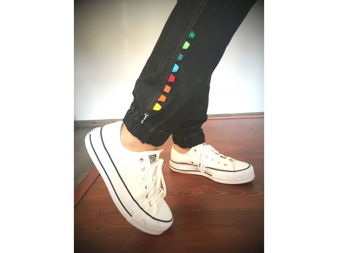 ...džínové kalhoty - barevná poutka