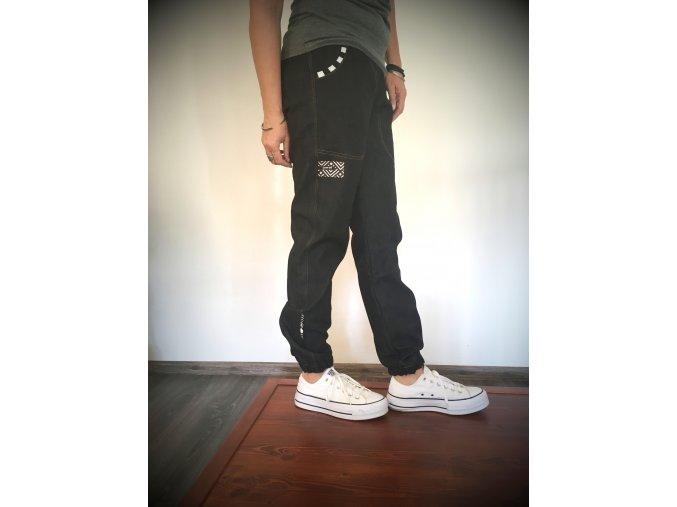 ...džínové kalhoty - černá / bílá