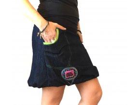 ...džínová balónová sukně ...zelená podšívka