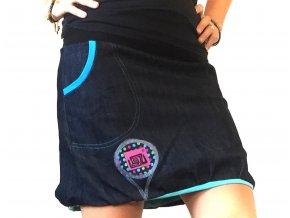 ...džínová balónová sukně ...modrá podšívka