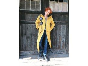 Dlouhý zimní kabát ze svetroviny - podšívkovaný fleecem