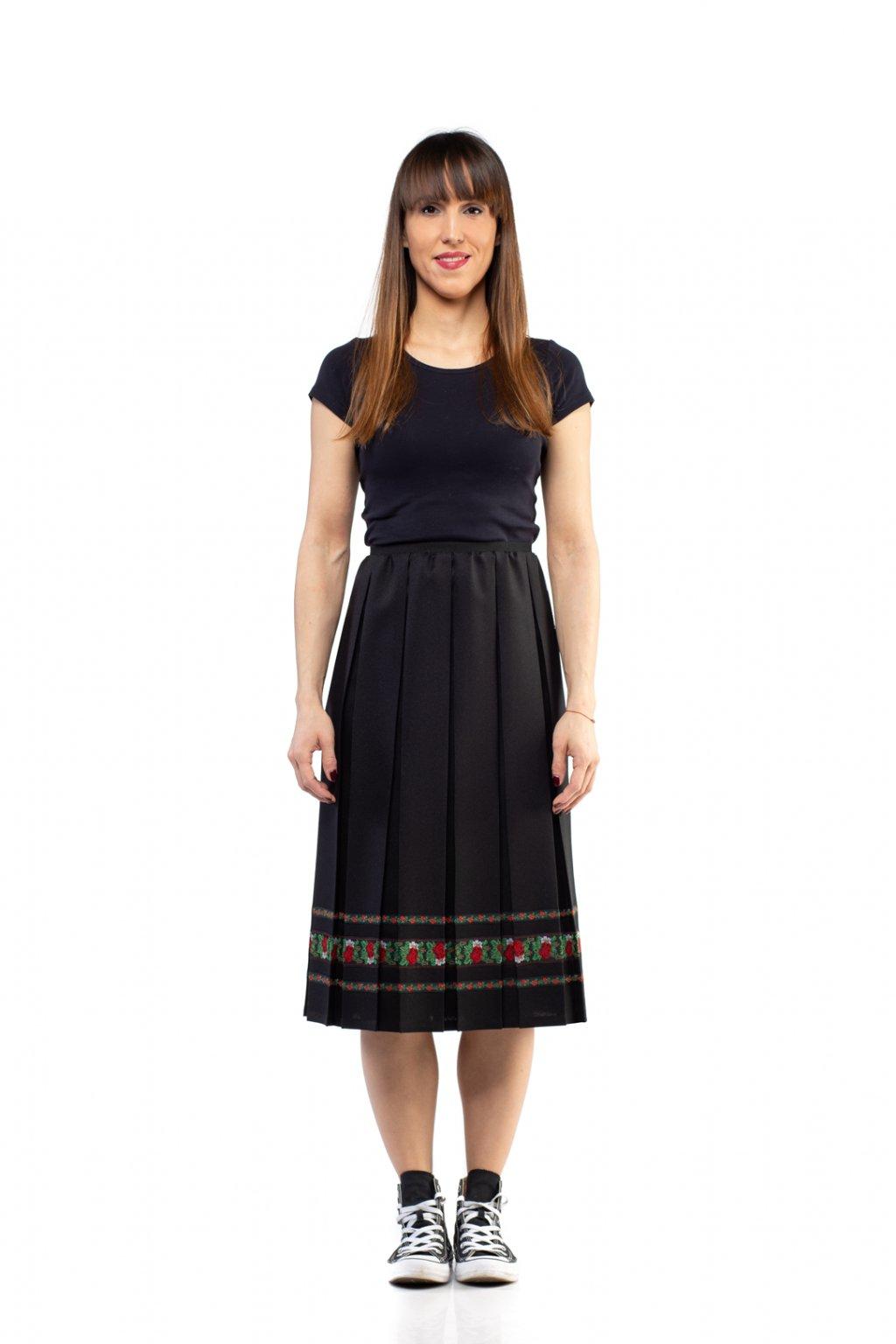 MIDI plisovaná sukňa GRANDBOX čierna