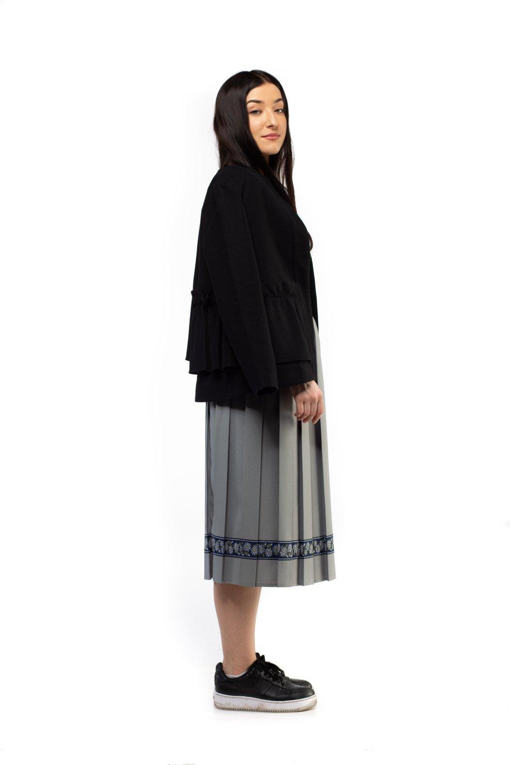 MIDI plisovaná sukňa sivá
