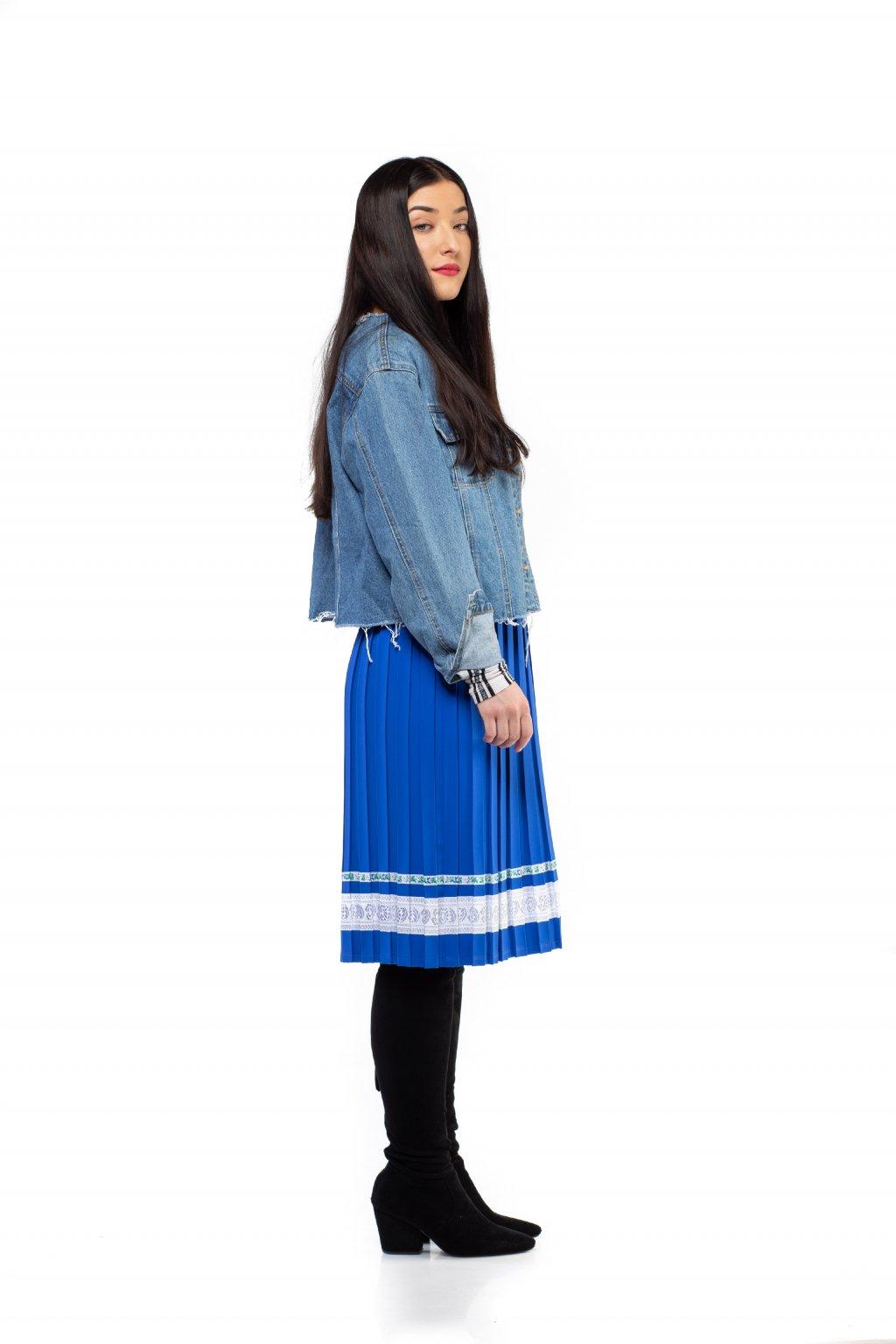 MIDI plisovaná sukňa parížská modrá