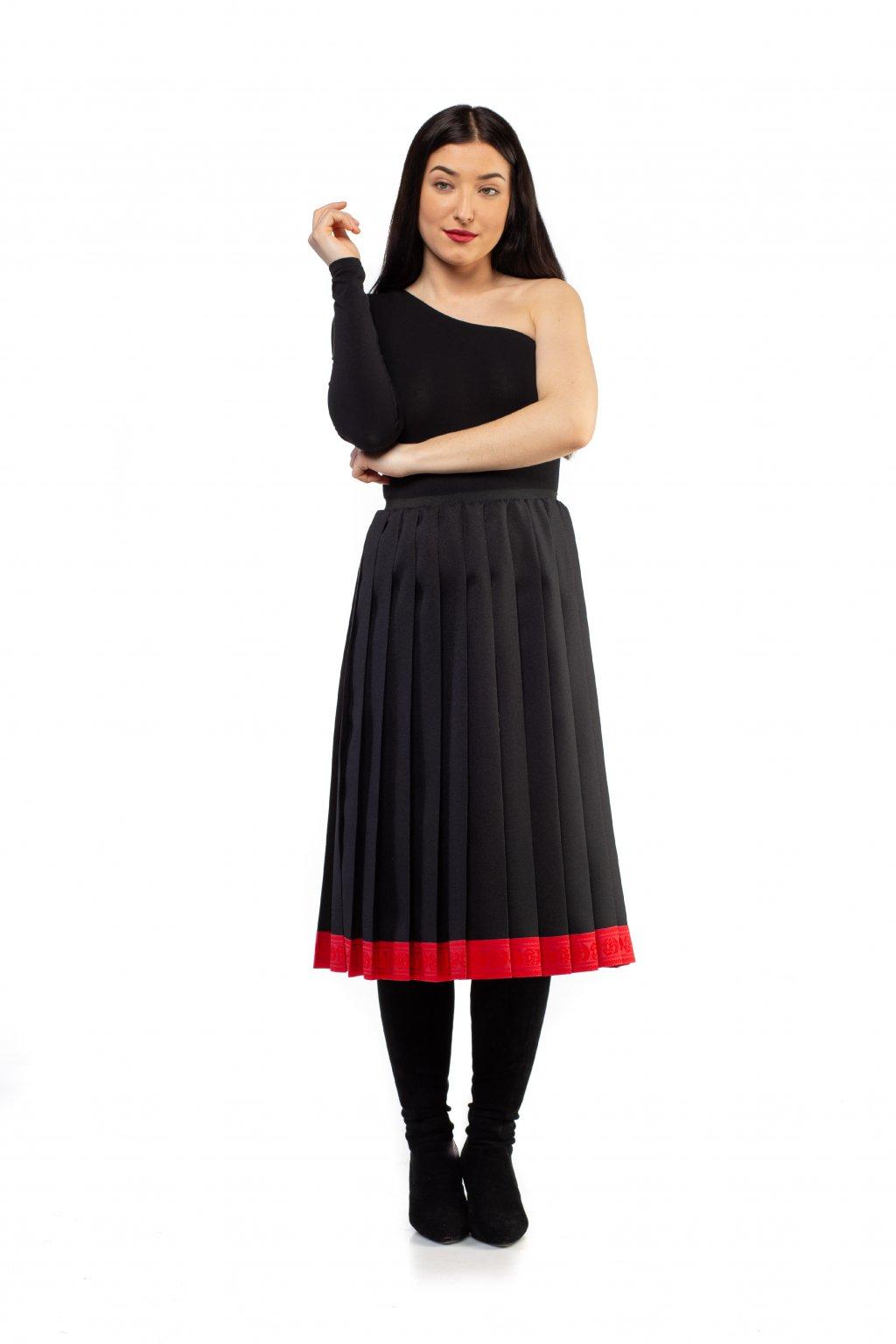 Plisovaná sukňa MIDI čierna