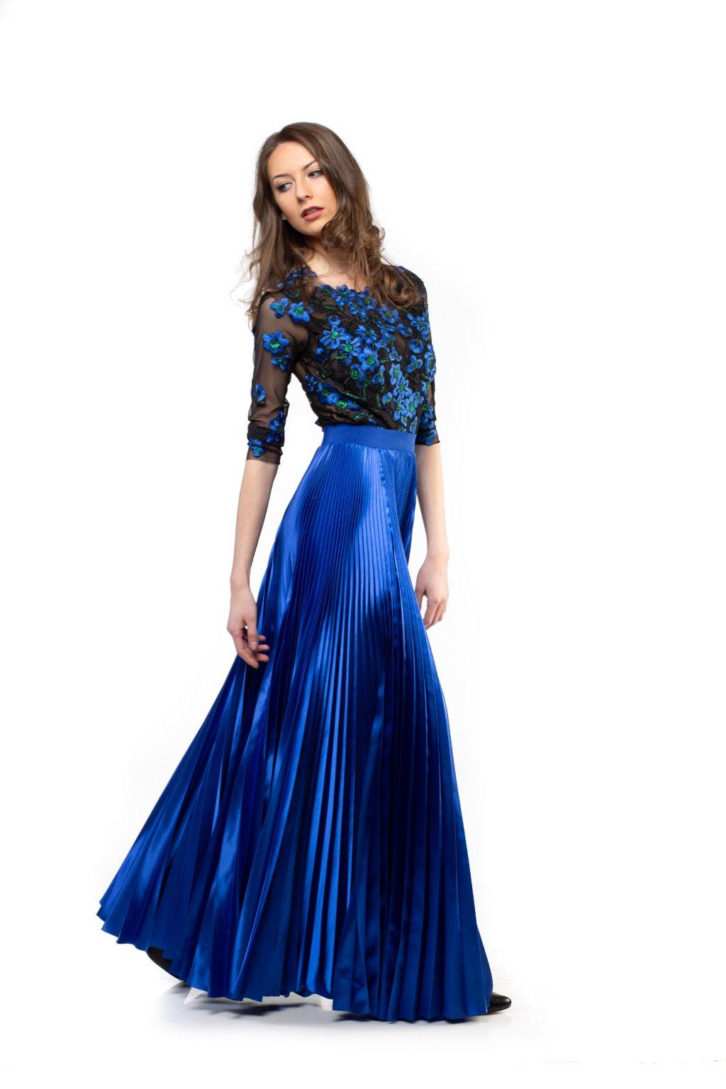 MAXI plisovaná sukňa parížska modrá