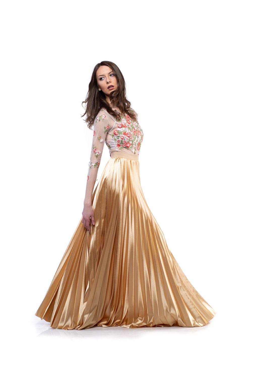 MAXI plisovaná sukňa zlatá