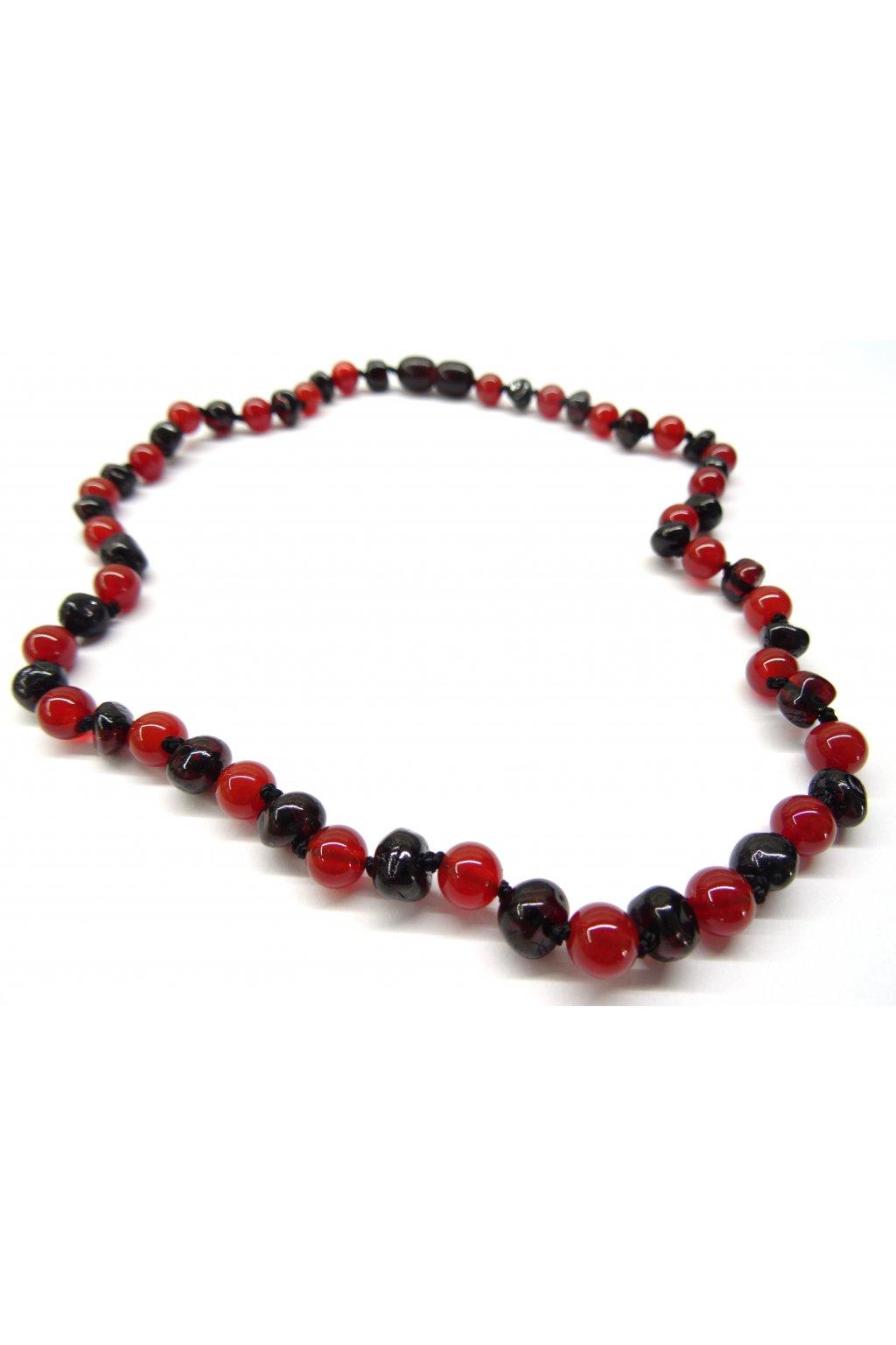 Jantarový náhrdelník - rubínový jantar a červený onyx 45cm