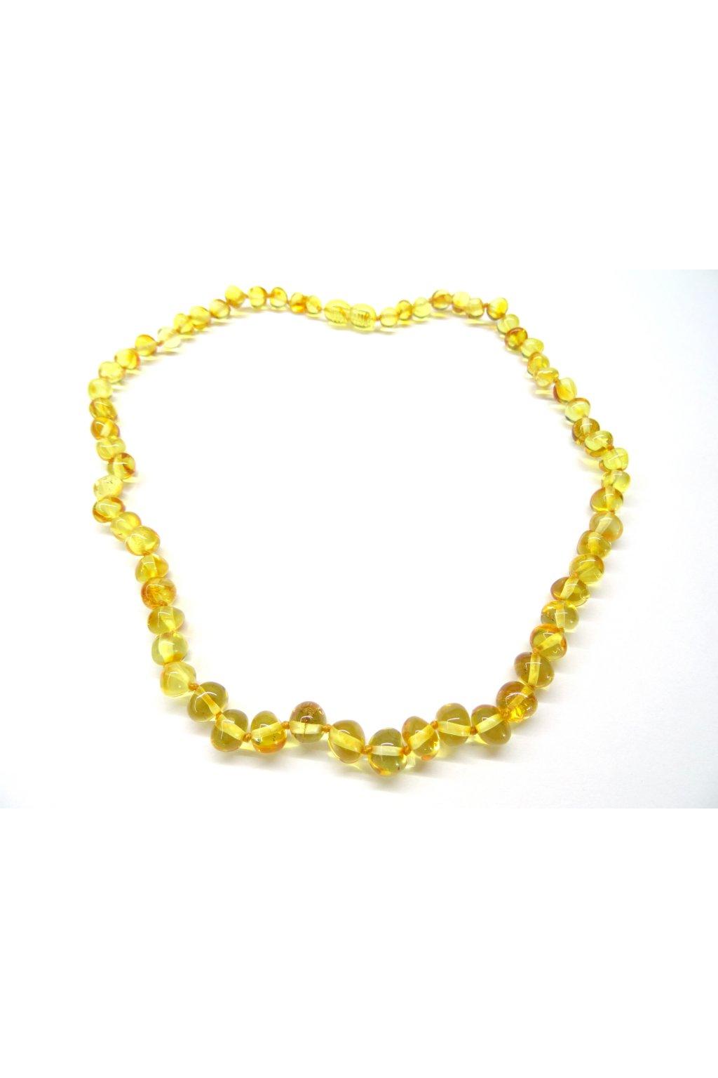 Jantarový náhrdelník - tradiční medové, kulaté leštěné kamínky 45cm