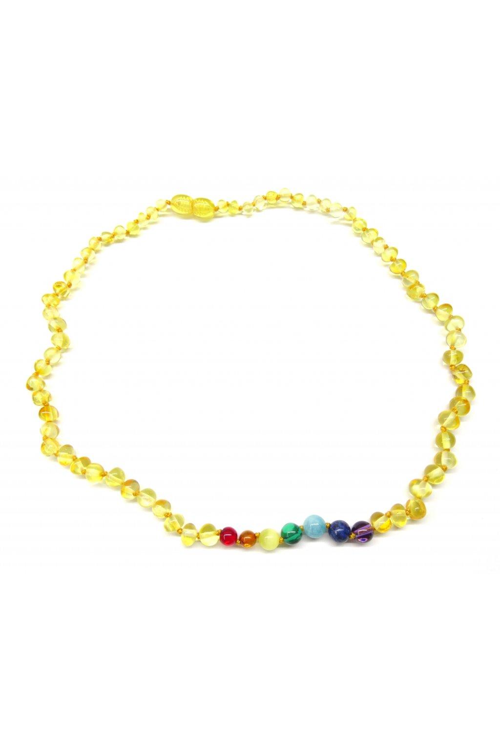 Jantarový náhrdelník - čakrový a kulatý citronový jantar, 45cm