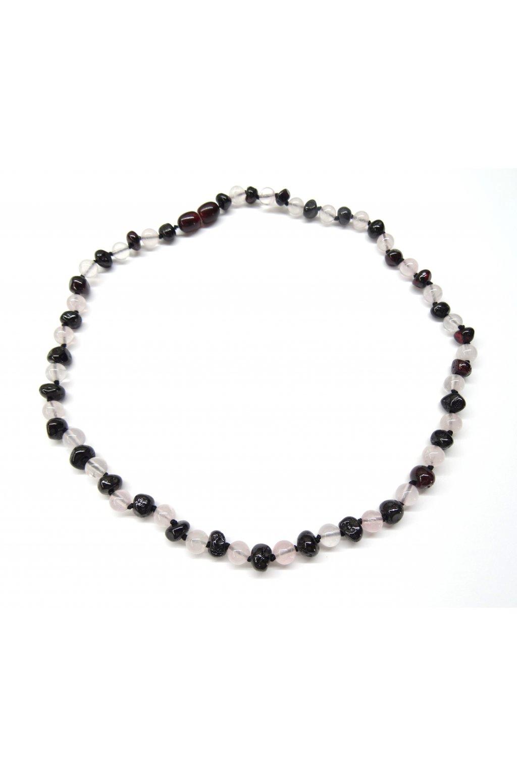 Jantarový náhrdelník - rubínový jantar a růženín 45cm