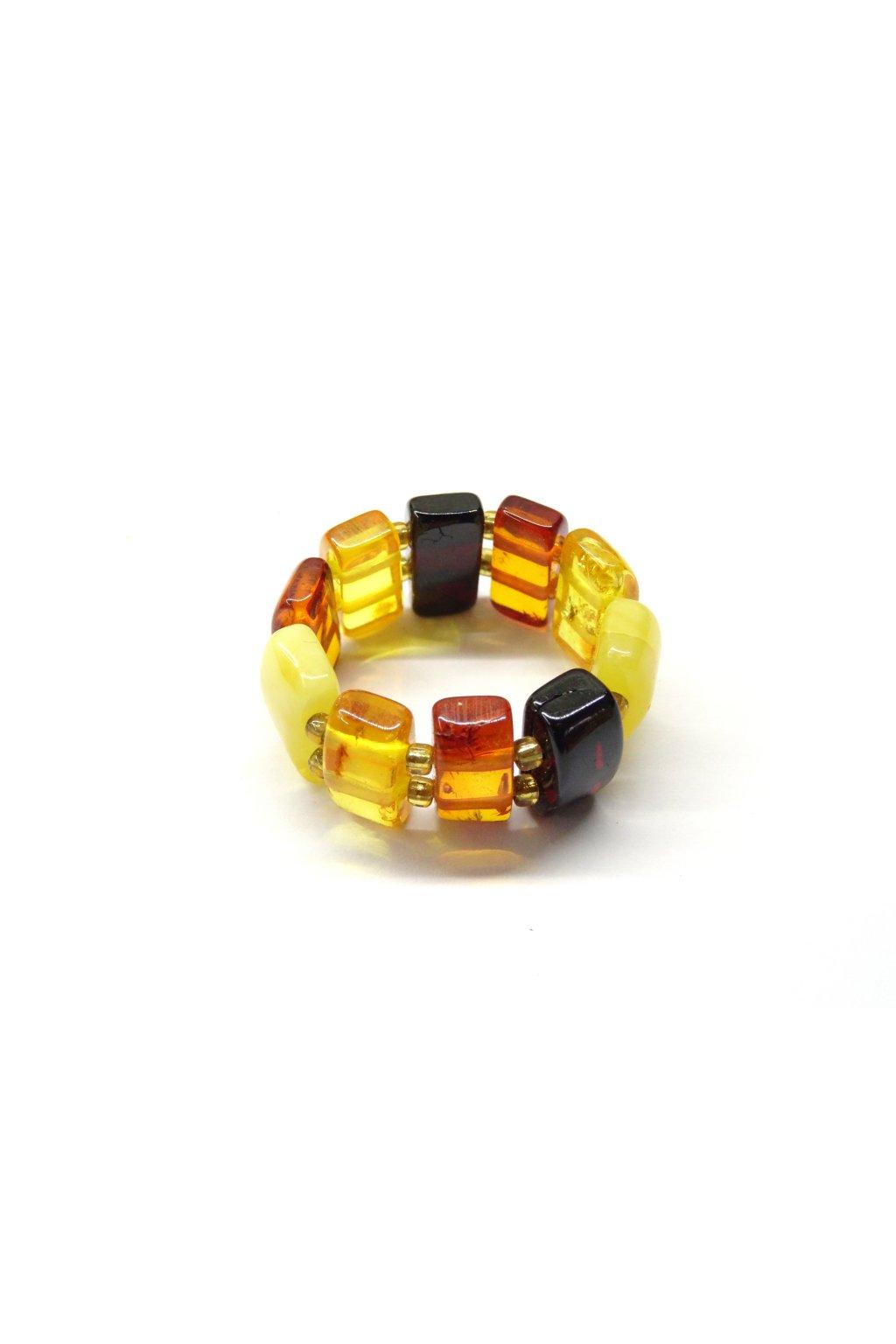 Pružný prstýnek z jantaru - multicolor