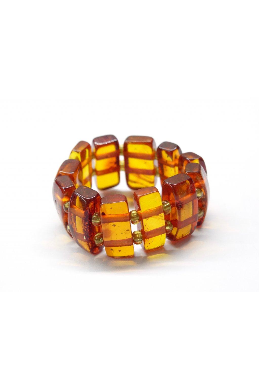 Pružný prstýnek z jantaru - medový