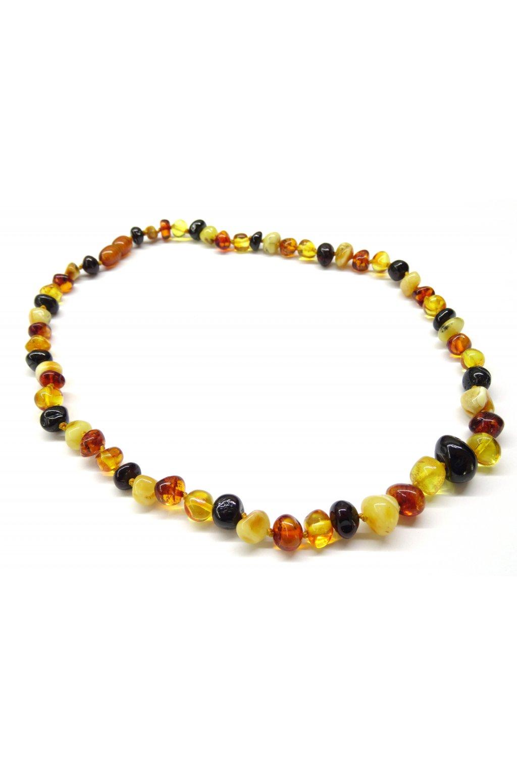 Jantarový náhrdelník - kulaté leštěné kamínky - multicolor, 45cm