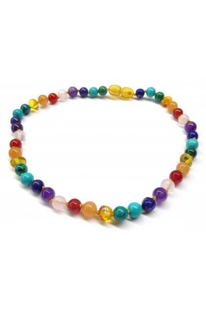 jantarový náhrdelník pro děti - čakrový