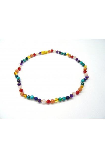 Jantarový náhrdelník - čakrový 45cm