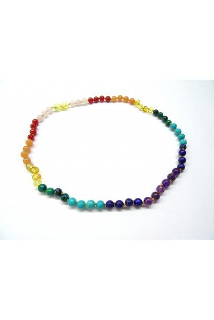 Jantarový náhrdelník - čakrový (ametyst v centru) 45cm