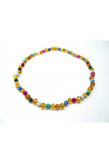 Jantarový náhrdelník - jantar a mnohobarevný achát 45cm