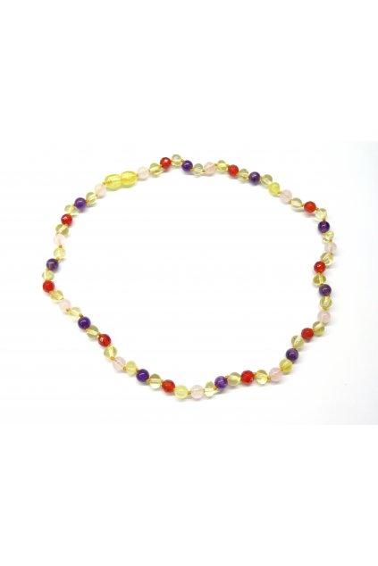 Jantarový náhrdelník - jantar, růženín, ametyst a broušený červený granát, 45 cm