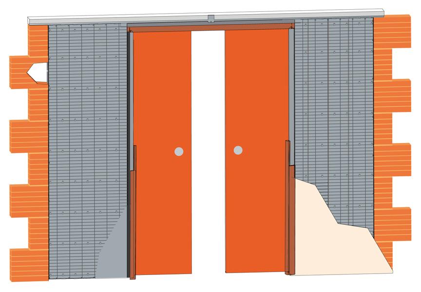 Stavební pouzdro JAP 711 LATENTE LINE - KOMFORT 1450 mm Výška: 197 cm, Tloušťka zdi: 125 mm, Typ příčky: SDK